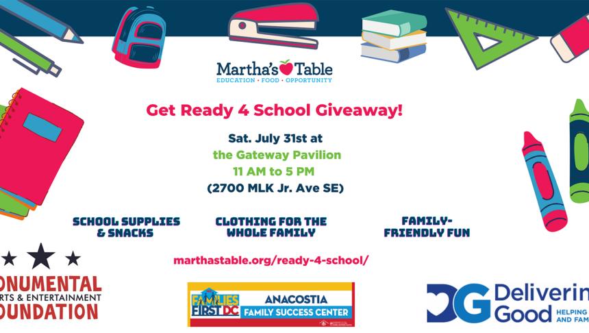 Martha's Table School Supplies Giveaway